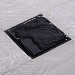 100X100 Shower Drain Black Bathroom Floor Drain Tile Insert Bathroom Accessory Square Anti-Odor Floor Drain Bathroom Invisible S