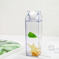 500mLMilk Carton Water Bottle Portable Kitchen Leakproof Juice Cup Transparent Outdoor Drinking Bottle For Sports Tour Drinkware
