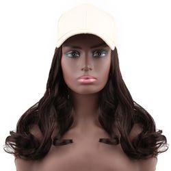"MODERN QUEEN Synthetic Pink Baseball Cap Hair 14 ""Body Wave Adjustable Female Cap Hair Wig Naturally Connect Baseball Cap Hair"