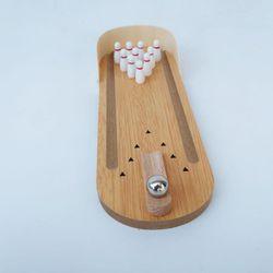 Parrot Bird Toy Wooden Mini Desktop Bowling Parakeet Intelligence Training Game