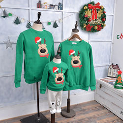High Quality Christmas Couple Adult Kids Pajamas Santa Claus Elk Sweaters Xmas Sweatshirt Mommy and Daughter Matching Clothes