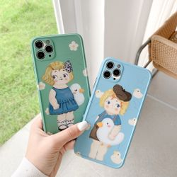Oil Painting Boy Holding Duck Girl For iPhone 11 Pro Max XS MAX X XR 8 7 6s 6 Plus SE 2020 Phone Case Mobile Phone Accessories