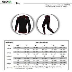WOSAWE Men Winter Thermal Fleece Cycling Base Layer Sets Warm Up Long Johns Underwear Kit Sportswear Mountain Bike Clothing