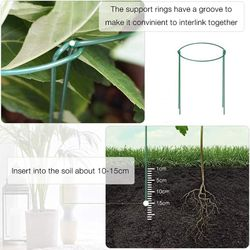 12Pcs Plant Support Pile Metal Garden Plant Pile Green Semicircle Plant Support Ring Flower Arrangement Fixing Rod