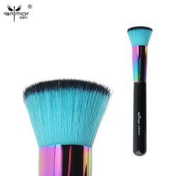 Anmor Single Rainbow Makeup Brushes Powder Professional Copper Duo Fibre Eye Blending Fan Make Up Brush Soft Synthetic Hair