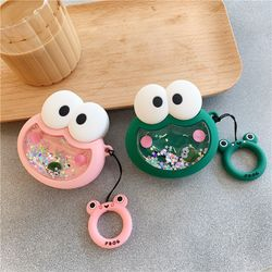 Dynamic Quicksand Silicone Case Cute Frog and Pig Earphone Case Cover for AirPods 1 2 Bluetooth Headset Charging Box with Straps