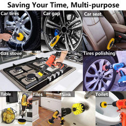 15PCS Auto Car Boars Hair Detailing Brushes Drill Brush Attachment Kit Car Detailing Cleaning Brush Set Air Vent