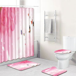 Flannel Bath Mat and Shower Curtain Set Valentine's Day Theme Bathroom Carpet Rug U-Shaped Rug Non-slip Foot Mat for Toilet