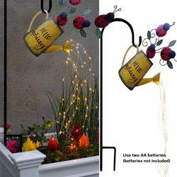Art Light Shower Lamp Garden Supplies LED Watering Can Lights Waterproof Battery Powered Wrought Iron Star Yard Decoration
