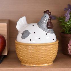 Egg Storage Jar Hen Shaped Ceramic Earthenware Jar Egg Tray Holder Refrigerator Fresh Storage Box Kitchen Storage Container