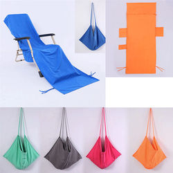 Portable Beach Chair Towel Long Strap Beach Bed Chair Towel Cover With Pocket for Summer Pool Sun Outdoor Activities Garden