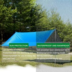 3 Size Hammock Waterproof Rain Fly Tent Tarp Lightweight Portable Waterproof Ripstop Easily Fold Sun Shelter UV Protection