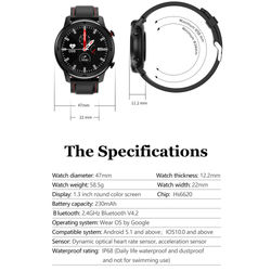 DT78 1.3inch Full Round/Touch Screen Smart Watch Band Pedometer Smartwatch Men Women Heart Rate Monitor Smart Bracelet VS L13