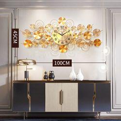 Large Metal Wall Clock Modern Design Golden Unique Luxury Wall Clock Silent Quartz Reloj Pared Grande Home Supplies DE50ZB