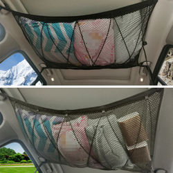 Car Ceiling Storage Net Pocket-Universal Car Roof Interior Cargo Net Bag With Zipper Car Trunk Storage for Camping and Hiking