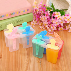 Homemade DIY Ice Cream Mold 4 Cells Ice Cube Molds Summer Popsicle Maker Platsic Kitchen Tools Randomly Color Lolly Mould