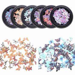1Box Pretty Fashion Nail Art Holographic Glitter Butterfly Decoration Nail accesoires Nail 3D Sequins Flakes Nail DIY I5B0