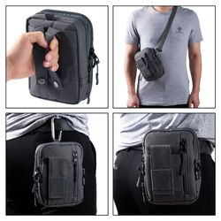 Bassdash Tactical Waistpack Molle Pouch Multipurpose EDC Crossbody Bag, Compact Gadget Pouch with Cell Phone Holster Holder
