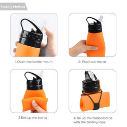 Corrosion Resistance High Temperature Collapsible Water Bottle Portable Leak-Proof Silicone Kettle Outdoor Travel Camping Drink