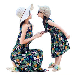 Summer Cotton Polyester Sleeveless Flower Printed Dress, Holiday Beach Mother and Daughter Matching Clothing NO20-25