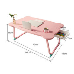 60x40x28cm Portable Computer Desk On Bed Folding Laptop Drawer + Card Slot + Cup Slot Simple Tand Holder Study For Office Table