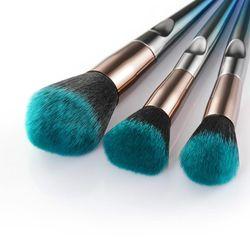 ZZDOG 5Pcs Makeup Brushes Set Professional Cosmetic Beauty Tools Metal Long Handle Powder Eyeshadow Blush Blending Brush Kit