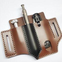 Outdoor Leather Tool Knife Sheath Pockets Multitools Holder Organizer Belt Pouch Pocket Hunt Tactical Flashlight
