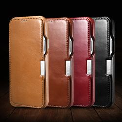 Luxury Handmade First Layer Genuine Leather Magnetic Flip Case for iPhone 11 12 Pro Max Mini X XS MAX XR 7 8 Plus SE 2020 Cover