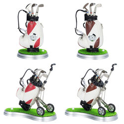 Golf Gift Golf Pen Holder Golf Desk Accessories Golf Clock Pen Holder Set
