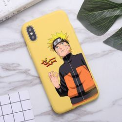 Anime Naruto Itachi Kakashi Phone Case for iPhone 11 Pro Max X XR XS 8 7 6s Plus Candy yellow Silicone Cases