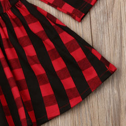 Christmas Baby Spring Autumn Clothing Toddler Baby Girl Princess Party Checked Dress Red Plaid Tutu Long Sleeve Dresses