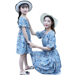 Summer Chiffon Ruffle Short Sleeve Flower Printed Dress, Mother and Daughter Dress with A Defined Waist NO42