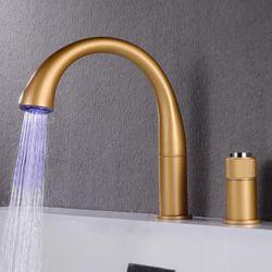 AZETA Black Bathtub Faucet LED 3 Color Change Single Handle Bath Tub Mixer Tap Bathroom Deck Mounted Bathtub Tap AT3702B