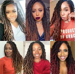 "Alileader Soft Dread Twist Locs Crochet Braid Hair 12""18""Inch Nu Locs Crochet Hair Ombre Black Borwn Synthetic Crochet Hair"