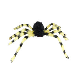 Halloween Dress Up Bar, Haunted House, Ghost Festival, Large Horror Plush Spider Decoration, Tricky Black and White Spider Web