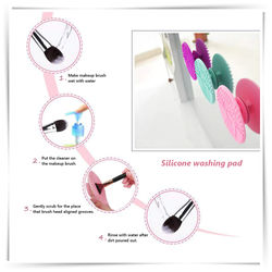 Brush Cleaning Mat Silicone Makeup Cleaning Brush Scrubber Mat Portable Washing Tool Cosmetic Brush Cleaner with Suction Cup