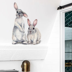 Cartoon Glasses Bunny Wall Sticker Living Room Cupboard Decor Self-Adhesive Removable Wallpaper Kids Room Stickers Home Decor