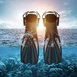 Diving Fins Swim Foot Snorkelling Diving Travel Swim Fins Foot Flippers Paddle Training Accessory Black Scuba Diving Windsurf