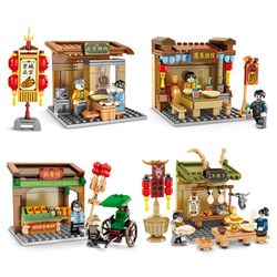 Blocks Street View Series Old Beijing Tavern Small Particles Assembled Model Girl's and Boy's Puzzle Building Blocks Toys