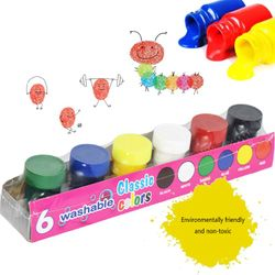 20ml 6 Vibrant Colors Washable Gouache Paint for Kids School Finger Paint