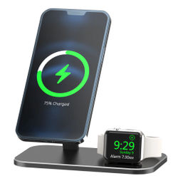 GTWIN 2 in 1 Wireless Charger Stand For Apple Magsafe iPhone 12 Pro Max Mini Apple Watch iWatch Wireless Charge Pad Desk Holder