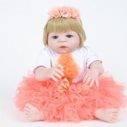 55 Cm Full Body Silicone Rebirth Baby Girl Toy Gift Baby Home Rebirth Baby Doll Toys Bebe Reborn Toys