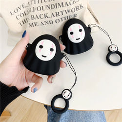 3D Cartoon Ghost No-Face Man Earpod Case For Apple Airpods 1 2 Silicone Wireless Bluetooth Earphone Cases with Finger Ring Strap