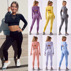 Contour Flex Seamless Sets Yoga Leggings Sport Women Fitness Eyelet Long Sleeve Crop Tops Cut-out Elastic Exercise Wear Gym Suit