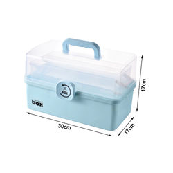 3 Layers Folding Lockable Portable Large Capacity Medicine Box First Aid Kit Multifunctional Medicine Storage Bin Container
