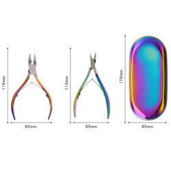 9Pcs/Set Rainbow Stainless Nail Cuticle Pusher Tweezer Cutter Trimmer Clipper Scissor Dead Skin Manicure Pedicure Tool