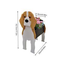 Dogs Shape Wood Flowerpot Cute Pet Flower Pots Garden Balcony Desktop Decoration Artificial Flower Cartoon Wooden Flower Pot