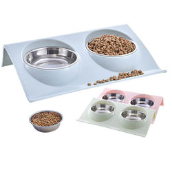 Stainless Steel Double Pet Bowls Food Water Feeder for Dog Puppy Cats Solid Color Feeding Dishes Pets Supplies Dropship