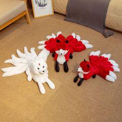 Hot Cute Soft White Red Nine Tails Fox Plush Toys Stuffed Animals Nine-Tailed Fox Kyuubi Kitsune Dolls Creative Gifts for Girls
