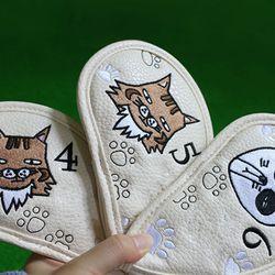 9 Pcs Portable Golf Club Headcovers Cute Cartoon Cat Pattern PU Waterproof Cover K3NC